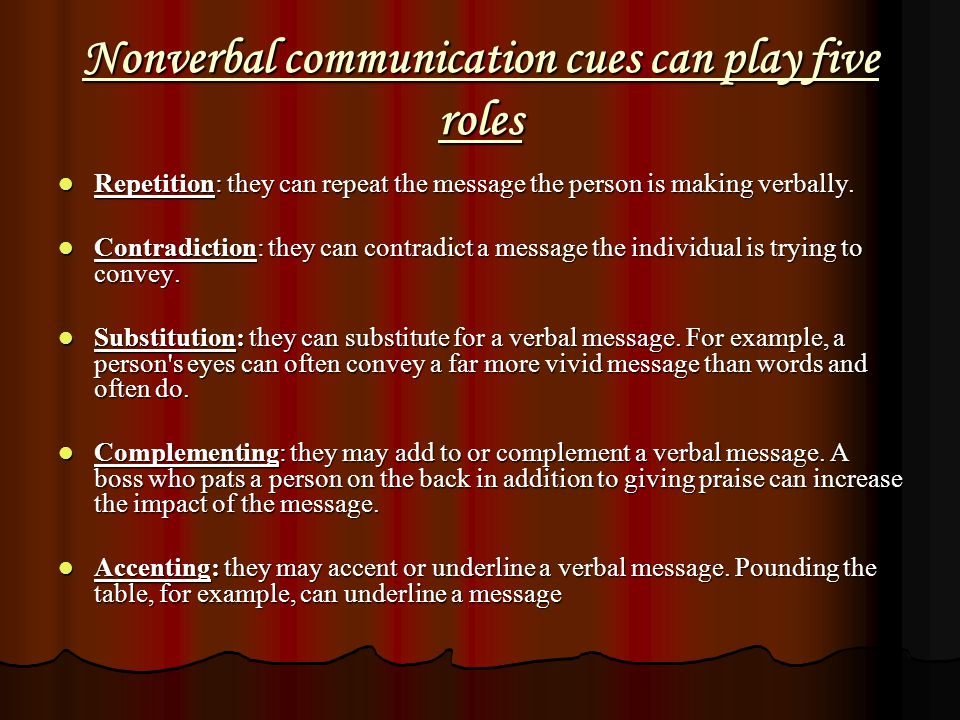 Nonverbal communication cues can play five roles