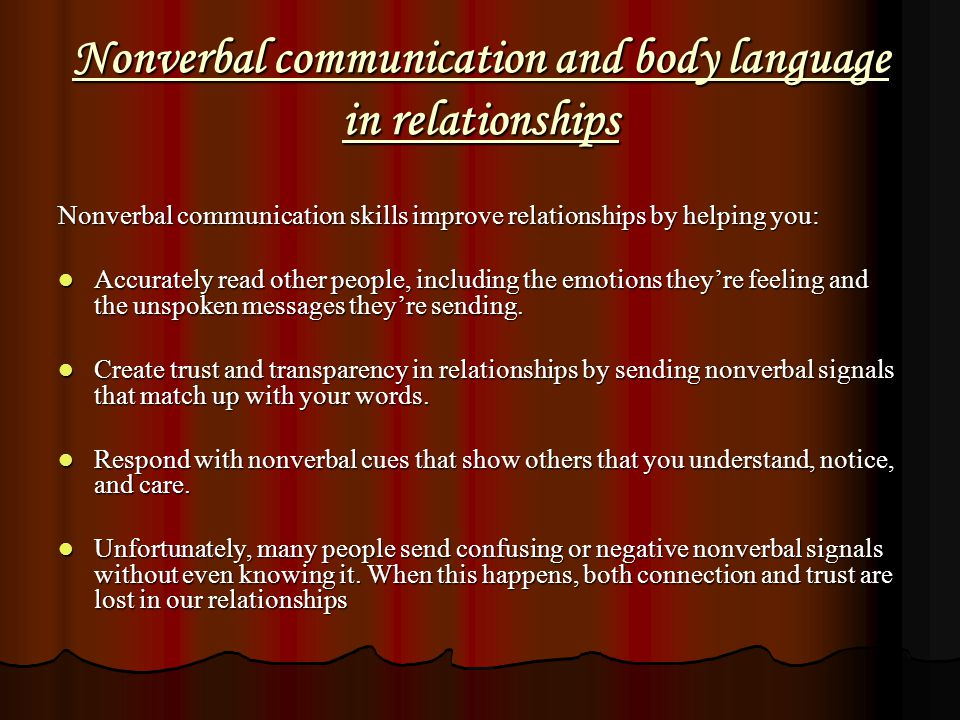 Nonverbal communication and body language in relationships