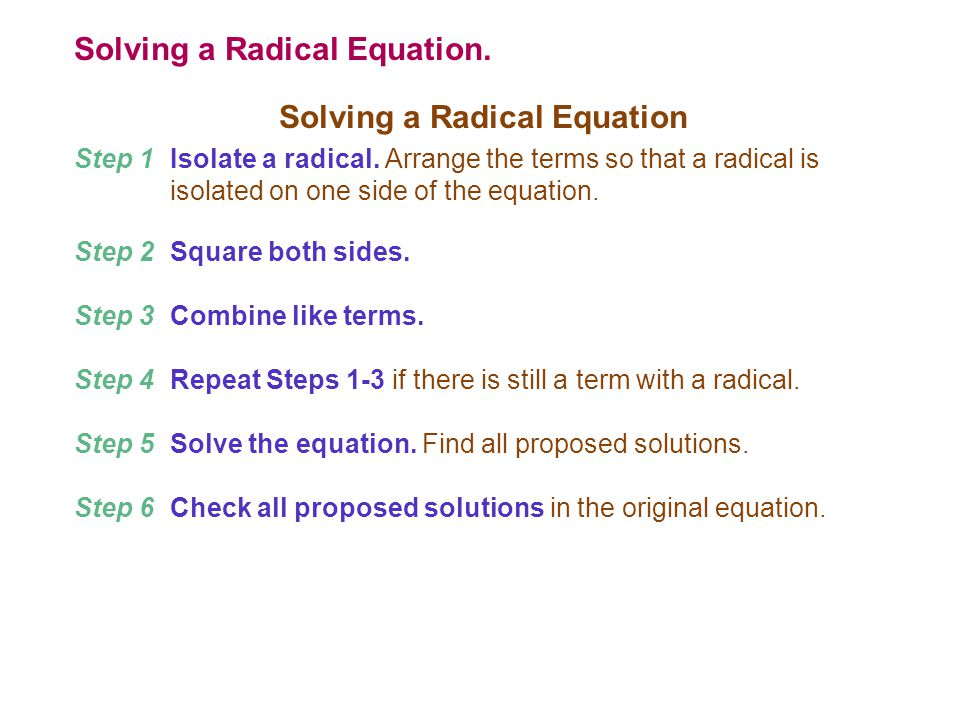 Solving a Radical Equation.