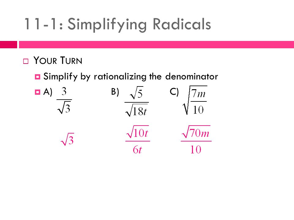 11 1 Simplifying Radicals Ppt Video Online Download