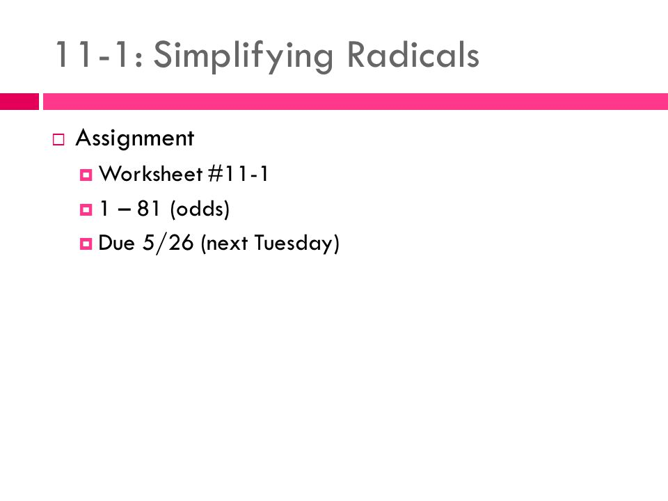 111 Simplifying Radicals ppt video online download – Simplifying Radical Expressions Worksheets