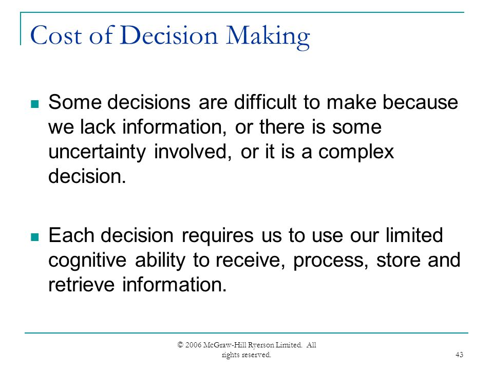cost information for decision making Using accurate cost information in a business without good cost information and this $20,000 is the relevant cost in this decision situation making decisions involves looking forward at the future cash flows of each alternative — not looking backward at historical-based cost values.