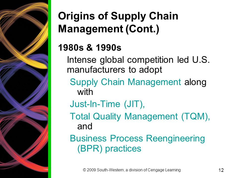 Origins of Supply Chain Management (Cont.)