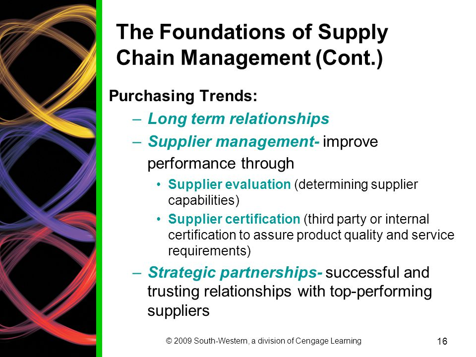 The Foundations of Supply Chain Management (Cont.)