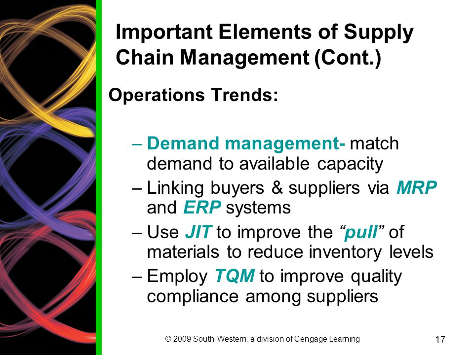 Important Elements of Supply Chain Management (Cont.)
