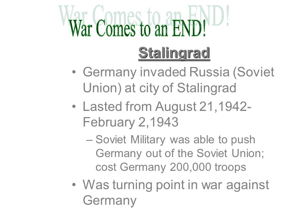 War Comes to an END! Stalingrad