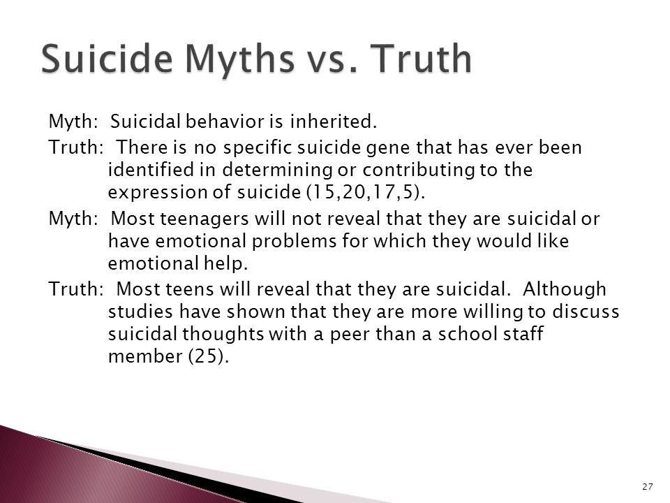 suicide among youth myths and Suicide is the 2nd leading cause of death among young people ages 10 to 241 lgb youth seriously contemplate suicide at almost three times the [.