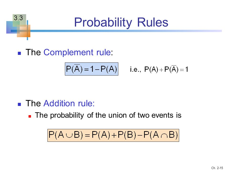 Probability Rules The Complement rule: The Addition rule:
