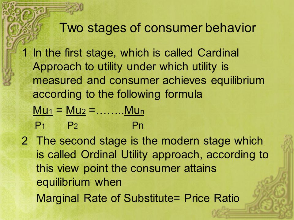 cardinal and ordinal approaches to consumer behaviour pdf