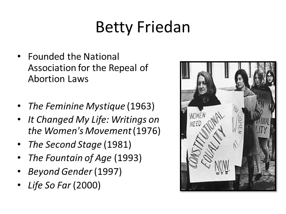 Betty Friedan Founded the National Association for the Repeal of Abortion Laws. The Feminine Mystique (1963)
