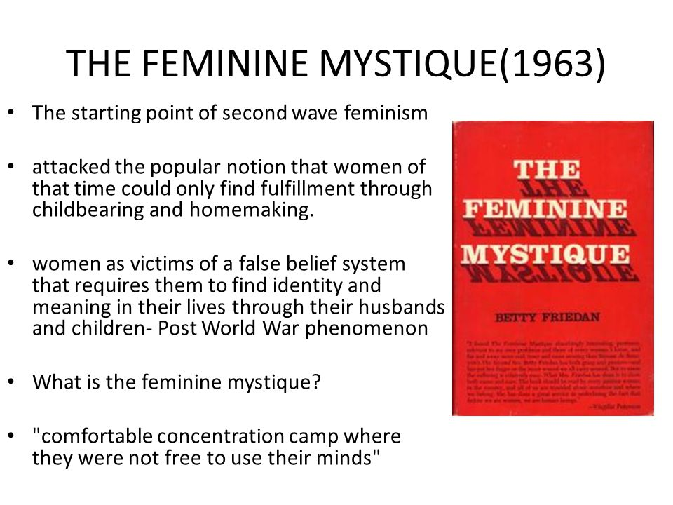 the stereotypes on women in mainstream media in betty friedans the feminine mystique Women's movement: women's movement and opportunities for women came with women's reaction to the 1963 publication of betty friedan's the feminine mystique.