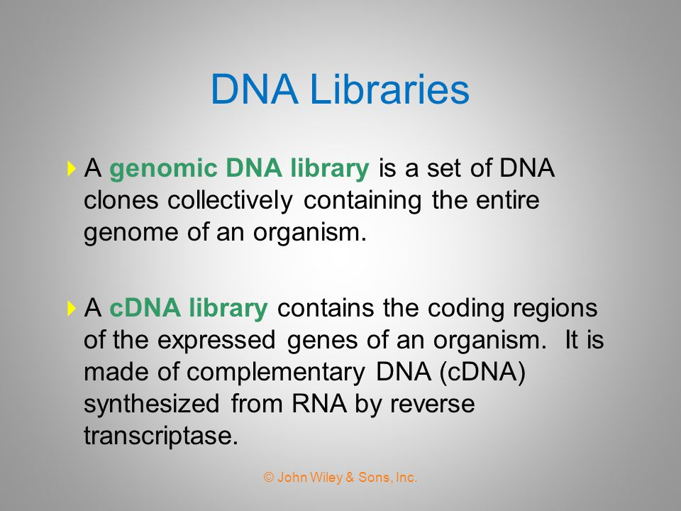 DNA Libraries A genomic DNA library is a set of DNA clones collectively containing the entire genome of an organism.