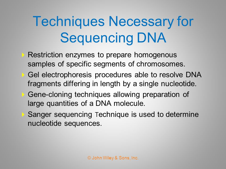 Techniques Necessary for Sequencing DNA