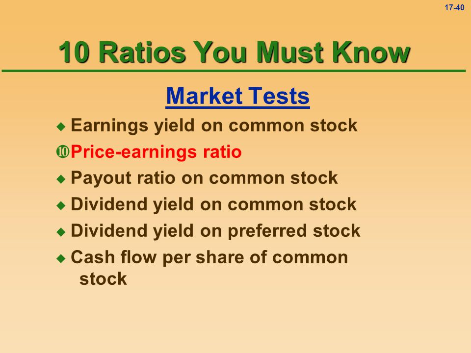 10 Ratios You Must Know Market Tests Earnings yield on common stock