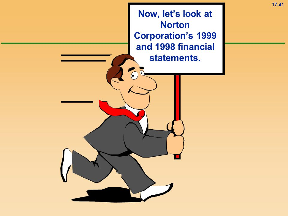 Now, let's look at Norton Corporation's 1999 and 1998 financial statements.