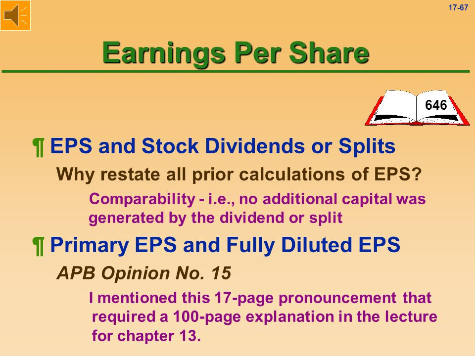 Earnings Per Share ¶ EPS and Stock Dividends or Splits