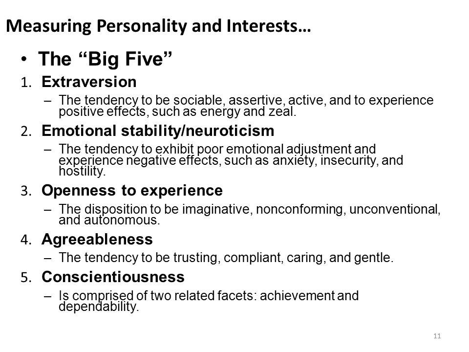 Measuring Personality and Interests…