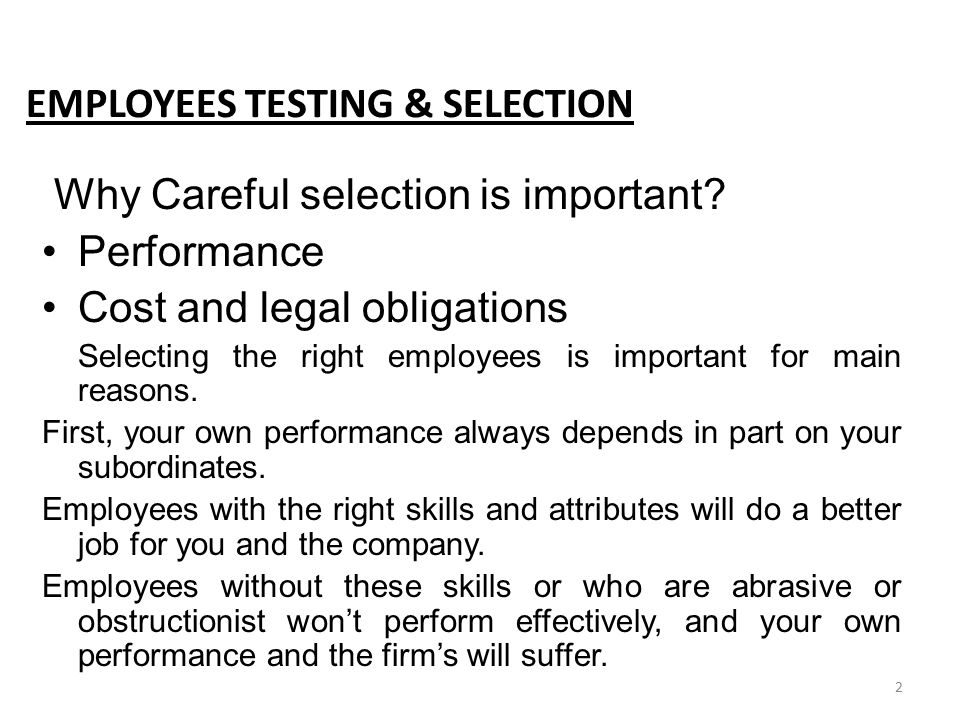 EMPLOYEES TESTING & SELECTION