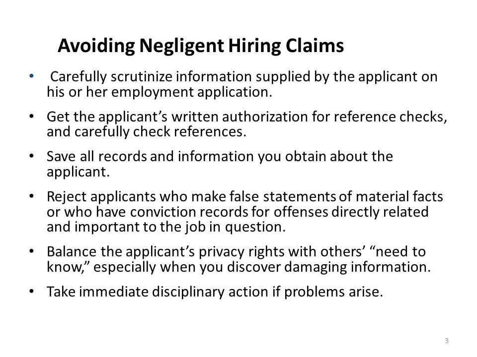 Avoiding Negligent Hiring Claims
