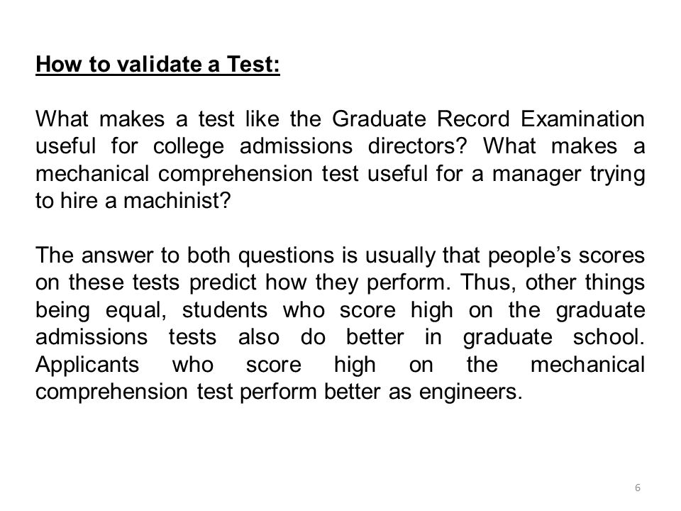 How to validate a Test: