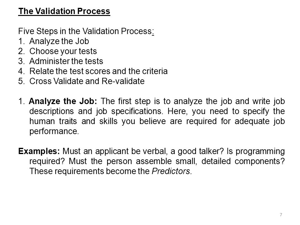 The Validation Process