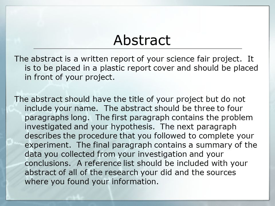 what to write on a science fair research paper Science research papers science research papers are a difficult task firstly, you have to choose a topic you are interested in and make sure of its relevancy we can divide science research work into qualitative and quantitative.