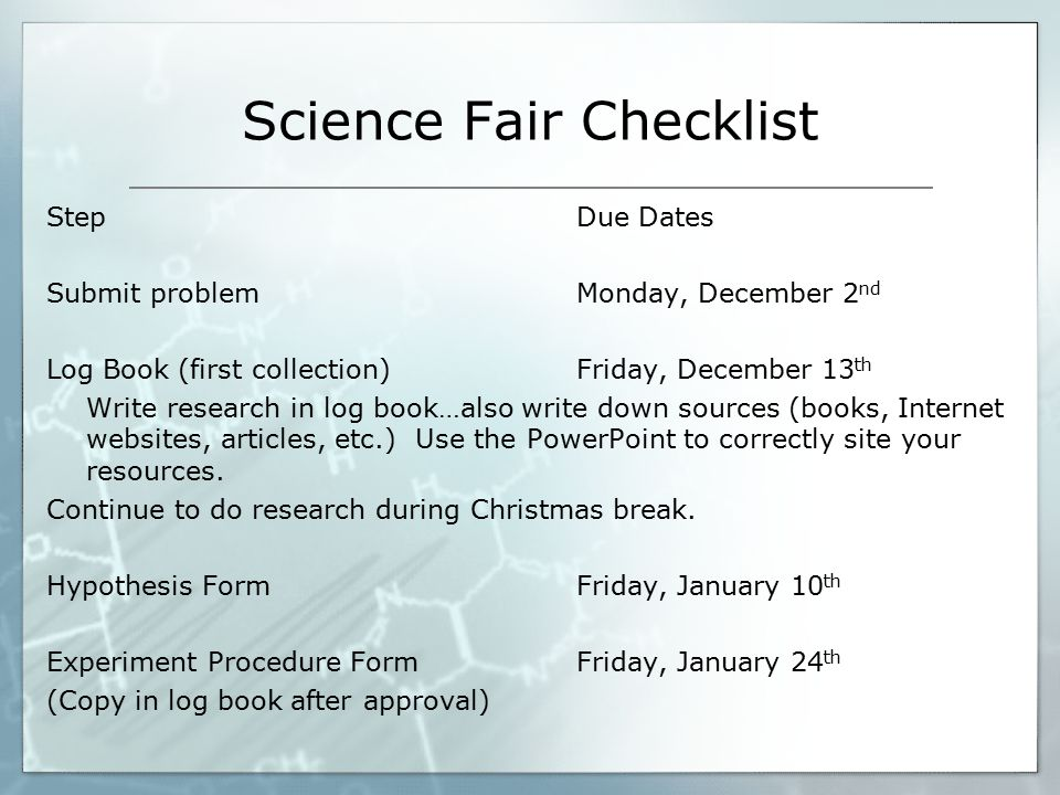 Science buddies research paper checklist