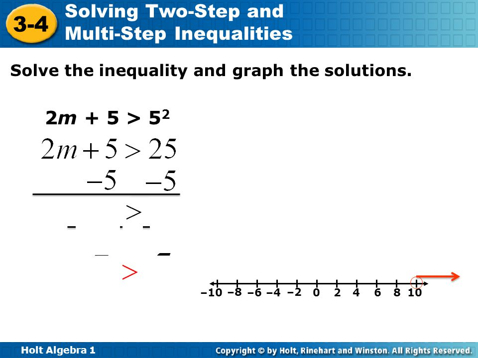 2m + 5 > 52 Solve the inequality and graph the solutions. –10 –8 –6