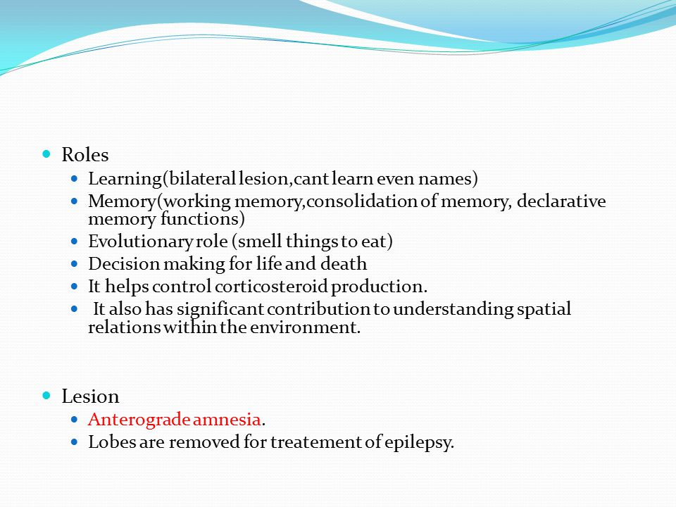 Roles Lesion Learning(bilateral lesion,cant learn even names)