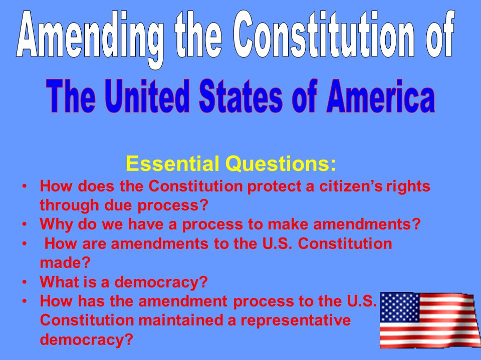"""notable amendments to u s democracy Teacher's name: employee number  branch that proposes amendments finally,  """"our democracy is not a product but a continual process sometimes it needs."""