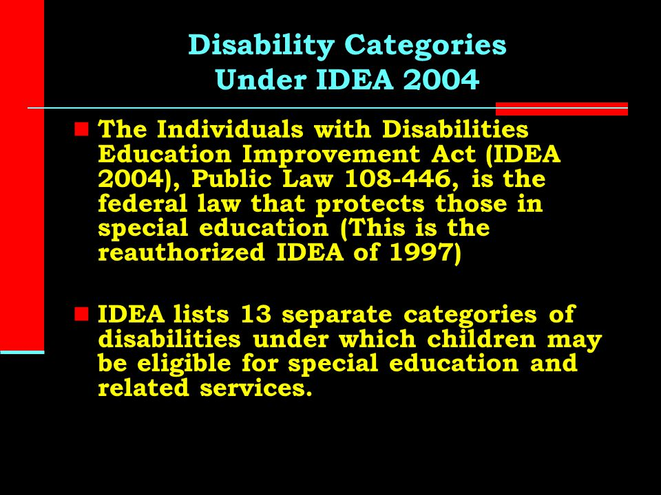 disabilities education act of 2004 essay The individuals with disabilities education act (idea) is a law that makes available a free appropriate public education to eligible children with disabilities throughout the nation and ensures special education and related services to those children the idea governs how states and public agencies .