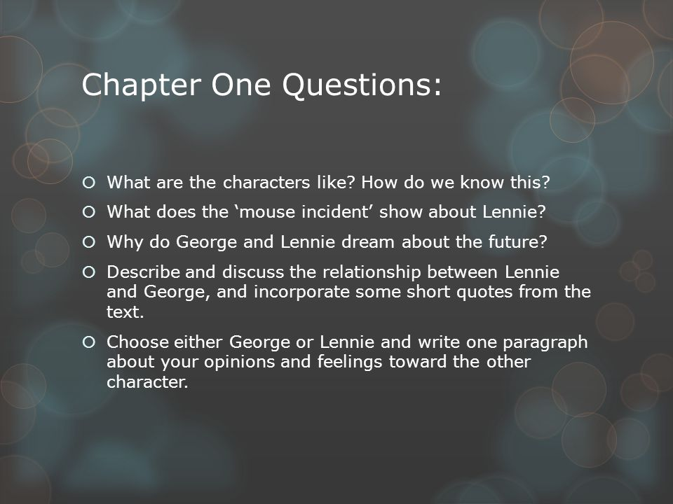 lennie and georges relationship in chapter 1