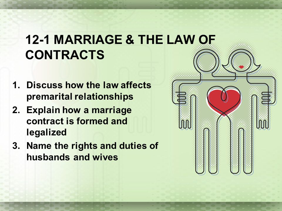 12-1 Marriage & the law of contracts