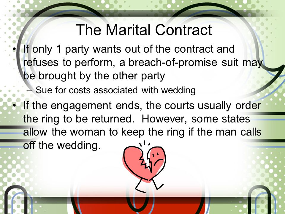 The Marital Contract If only 1 party wants out of the contract and refuses to perform, a breach-of-promise suit may be brought by the other party.
