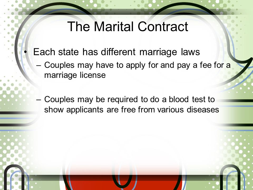 The Marital Contract Each state has different marriage laws