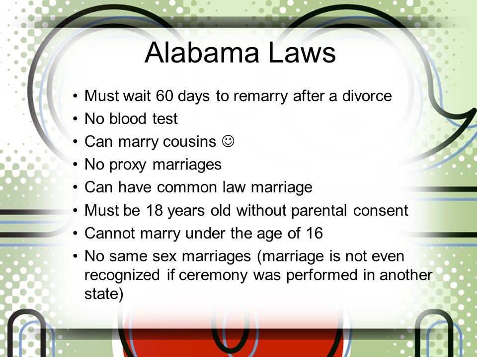 Alabama Laws Must wait 60 days to remarry after a divorce