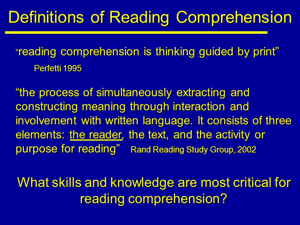 Literal, Inferential and Critical Comprehensive Reading