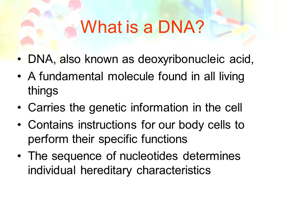 an introduction to the analysis of deoxyribonucleic acid also known as dna Dna, or deoxyribonucleic acid forensic biology experts at the crime lab can also help when investigators have identified a potential suspect in a crime expert analysis of dna evidence aids between 200-300 investigations annually as a result of codis hits.