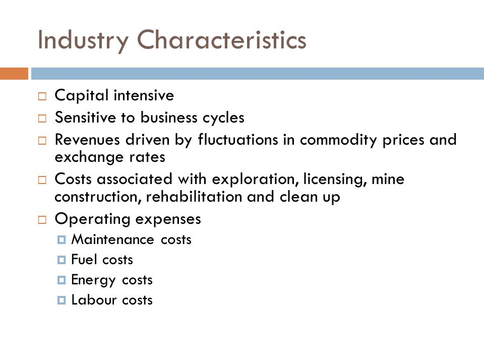 Dominant characteristics of construction industry