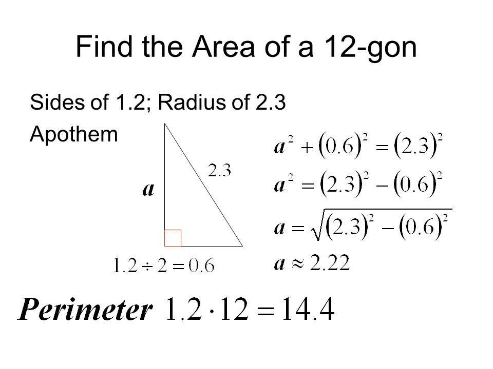 math worksheet : 11 2 area of regular polygon  ppt video online download : Apothem Area Formula