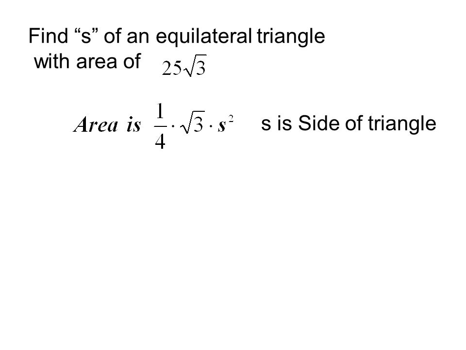 how to find the area of an equilateral triangle