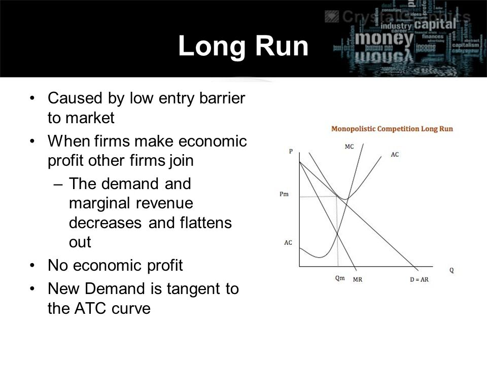 Long Run Caused by low entry barrier to market