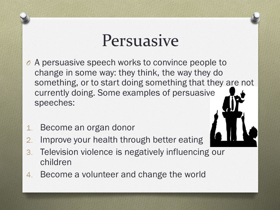persuade speech The point is, a great speech is memorable, but not necessarily true the commonality was the passionate delivery of the speaker when the passion is sincere, it convinces everyone what the speaker is saying must be true the lesson learned from this is just because a speech is persuasive, the contents of the speech may not necessarily be.