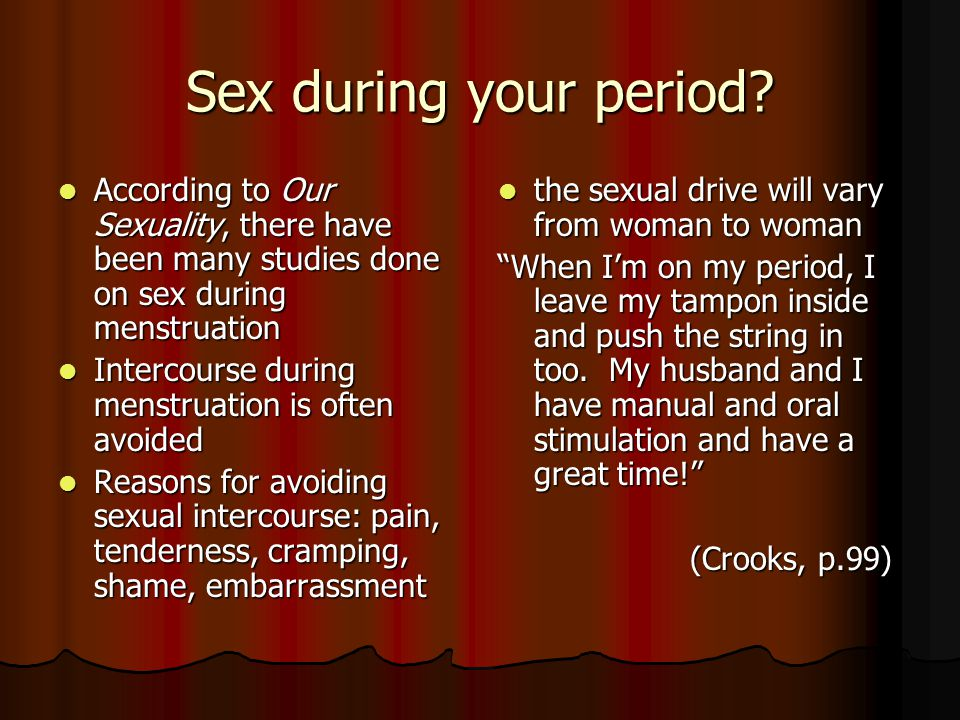 Images of sex during periods