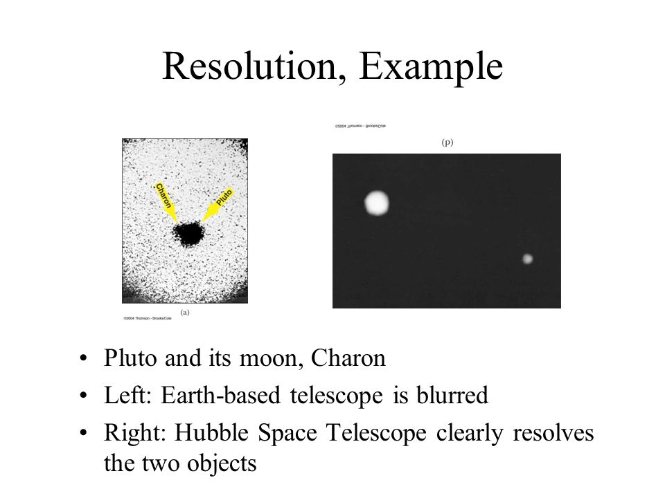 Resolution, Example Pluto and its moon, Charon