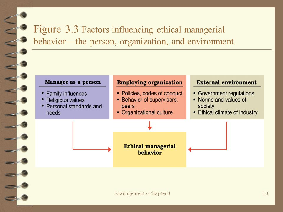 Figure 3.3 Factors influencing ethical managerial behavior—the person, organization, and environment.