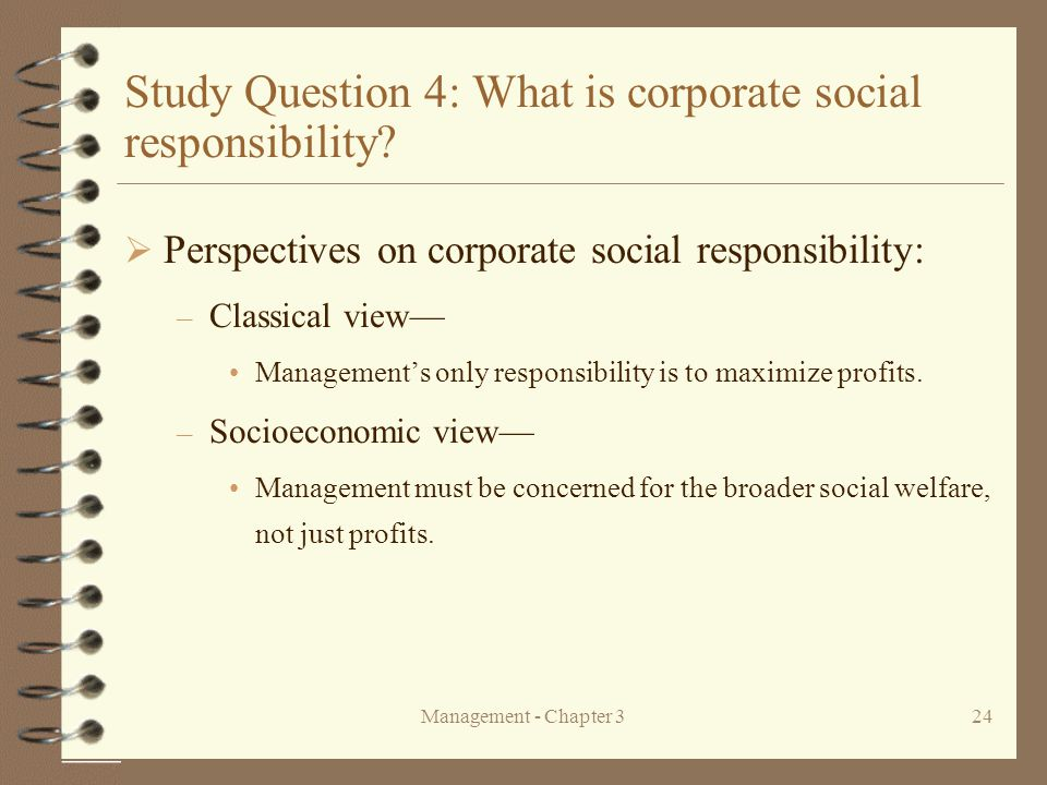 Study Question 4: What is corporate social responsibility