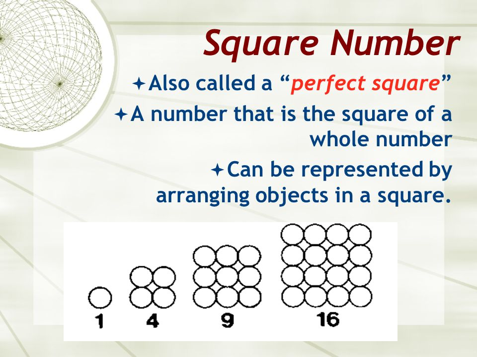 Square Number Also called a perfect square