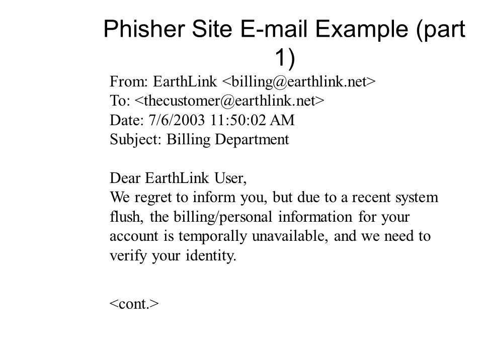 Phisher Site  Example (part 1)