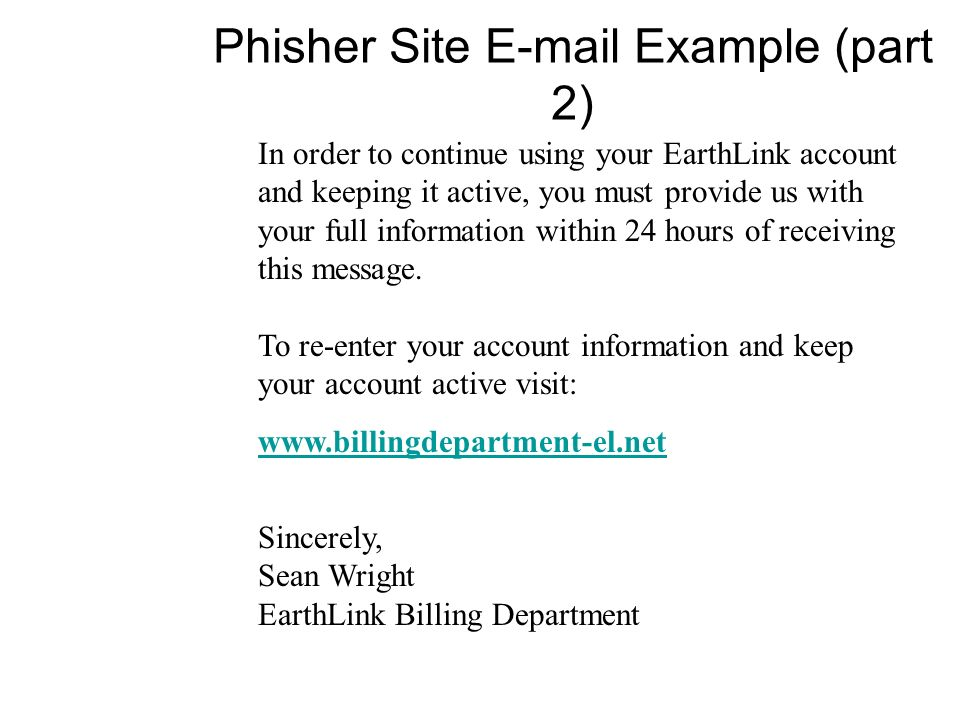 Phisher Site  Example (part 2)